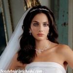 Брюнетка со свадебной прической с фатой