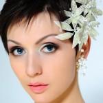 Свадебная прическа для коротких волос с челкой