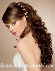 Фотография - свадебной прически на длинные волосы с челкой