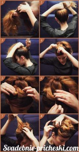 Прическа на средние волосы своими руками