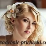 Свадебная прическа на короткие волосы с фатой у красивой девушки
