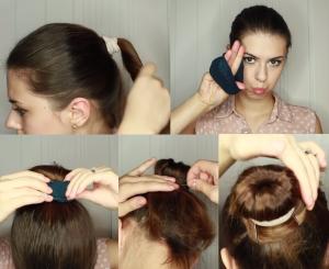 Прическа пучок на короткие волосы с платком