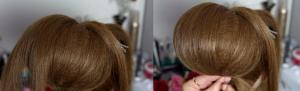 Отделяем из оставшихся волос тонкие пряди и накладываем их на начес