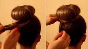Собираем кончики волос в руку и закручиваем в жгутик, который укладываем вокруг бублика