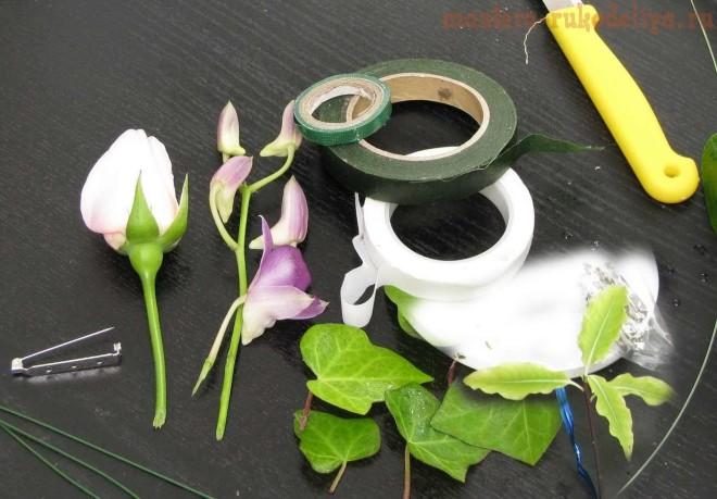 Обработка живых цветов и способы их крепления в волосах