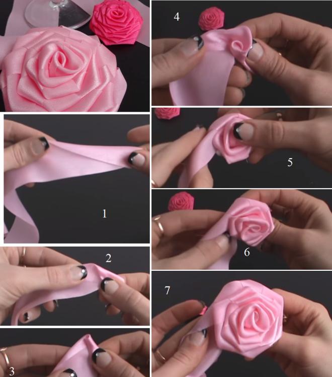 Розы из ткани в волосы на свадьбу