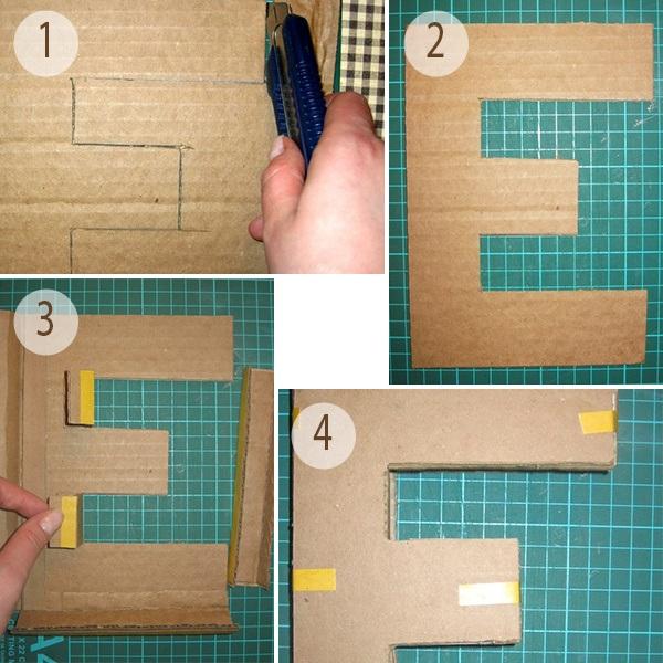 Объемные буквы из картона для оформления свадьбы