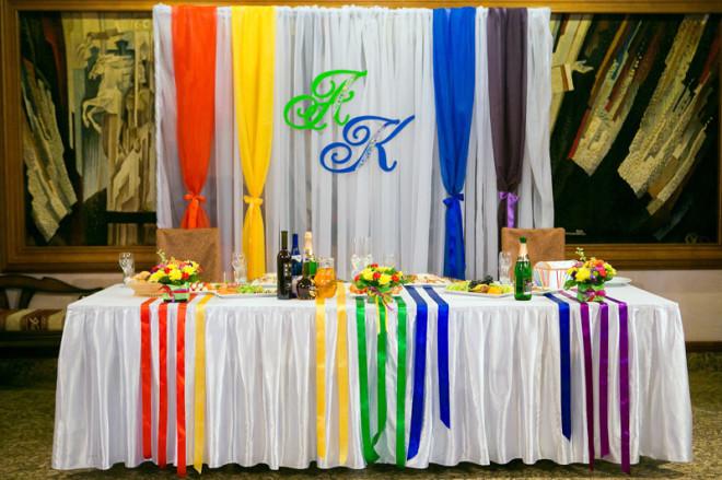 Радужная свадьба. Оформление зала