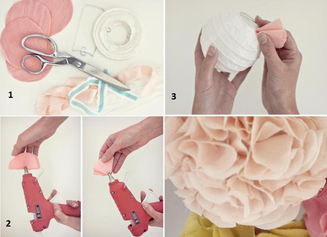 Помпоны свадебные из ткани и китайских фонариков