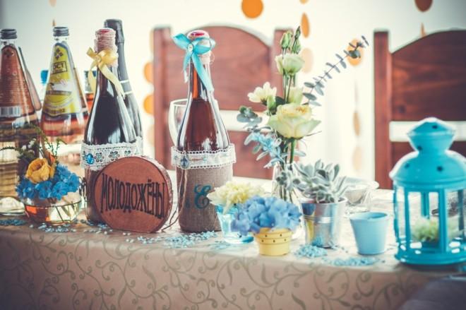 Декорирование свадебного стола в стиле рустик