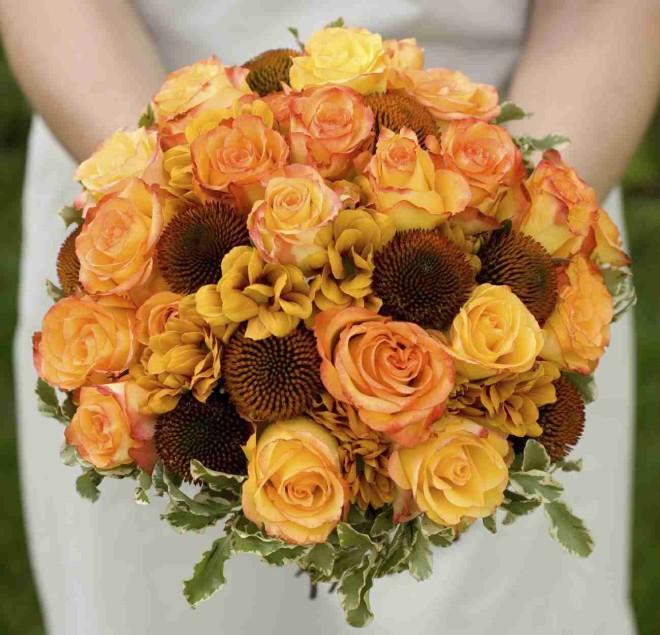 Осенняя свадьба, букет невесты