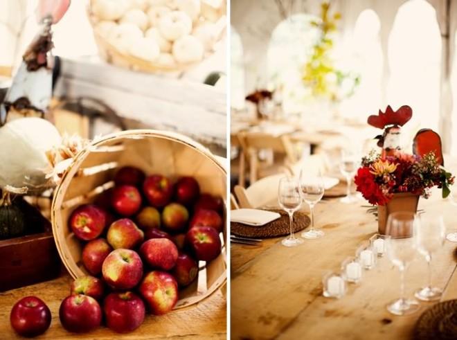 Осенняя свадьба, детали декора