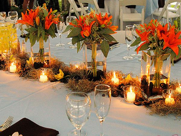 Осенняя свадьба, детали декора банкетного стола