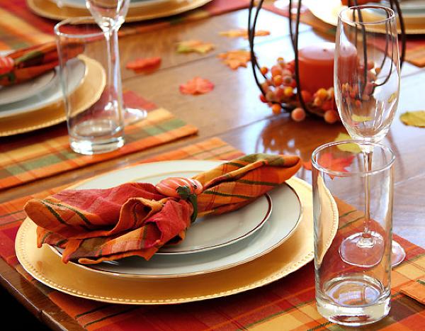 Осенняя свадьба, украшение стола