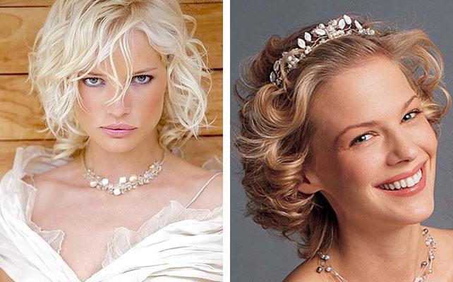 Прическа на короткие волосы на свадьбу без челки