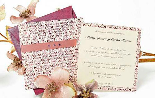 Свадебное приглашение с интересным принтом