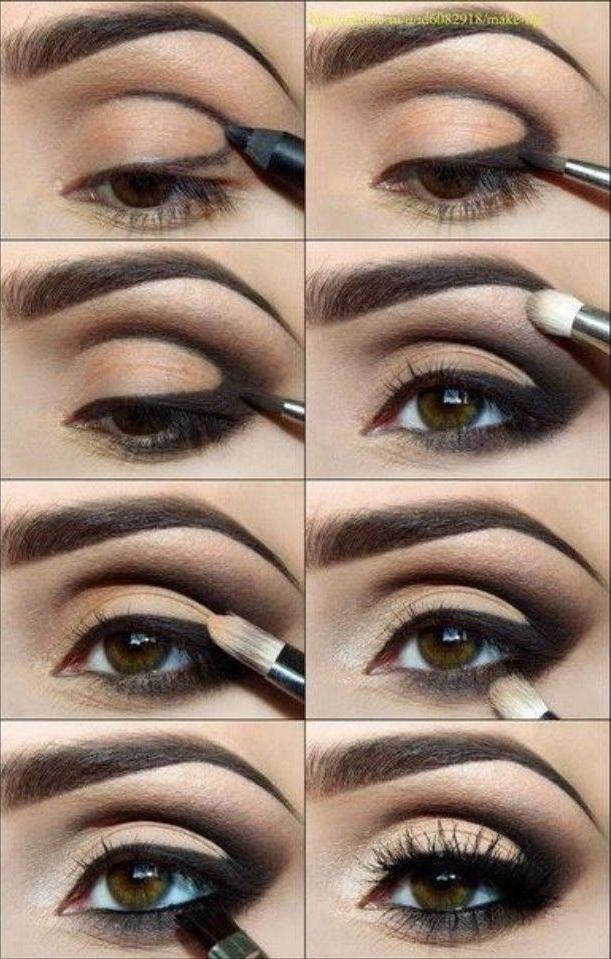 Как красить глаза карие глаза тенями пошагово