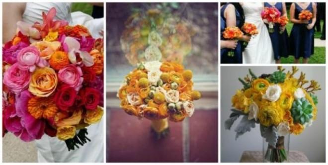 Нежные цветки календулы в букете невесты