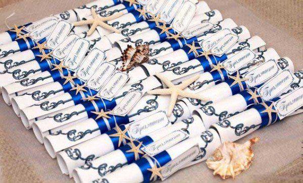 Приглашения на свадьбу в стиле морских свитков