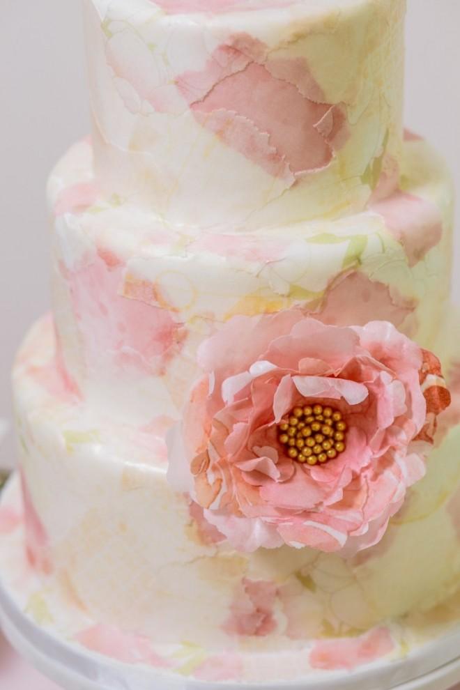 Шикарный торт с декупажем и акварельной росписью