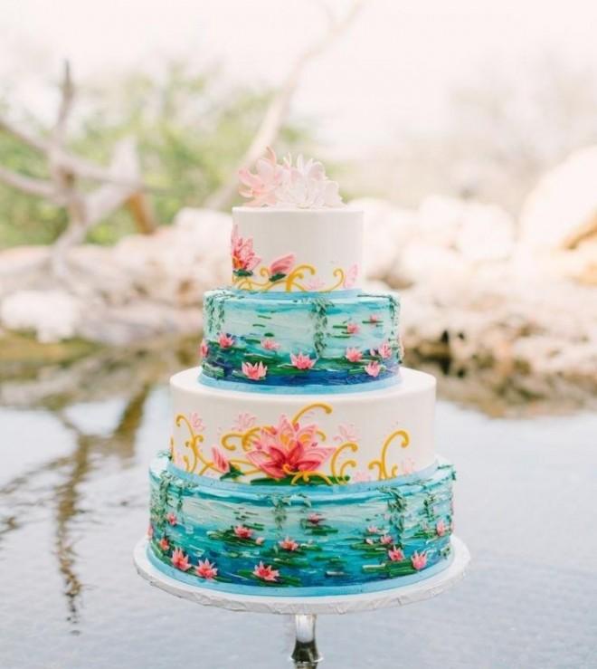 Украшенние свадебного торта в стиле Моне кувшинками