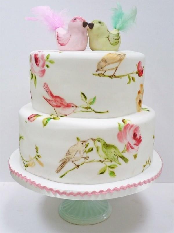 Все акварельные торты расписываются вручную