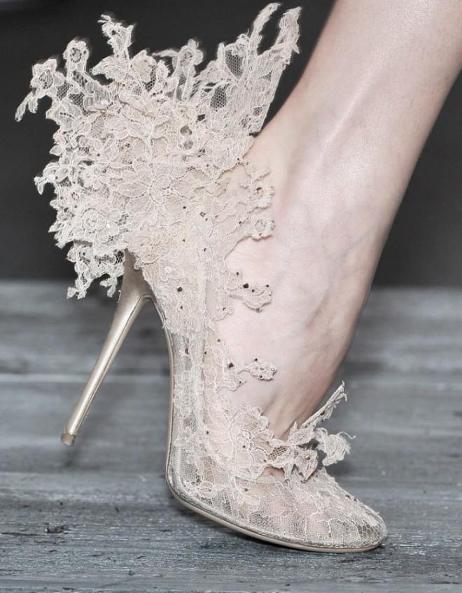 Текстильные фантазийные туфли невесты