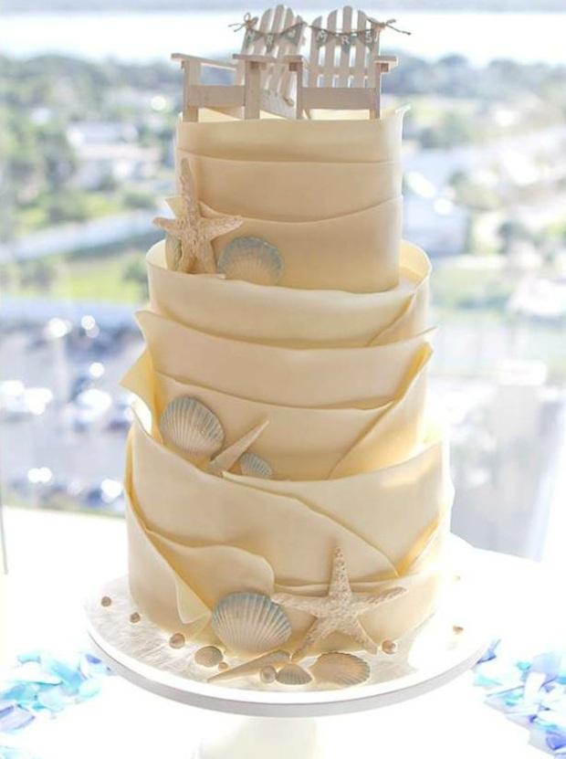 Свадебный торт для пляжной свадьбы