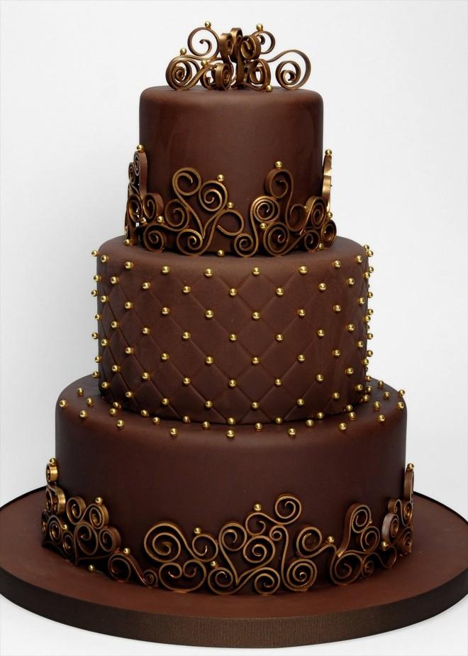 Шоколадный свадебный торт
