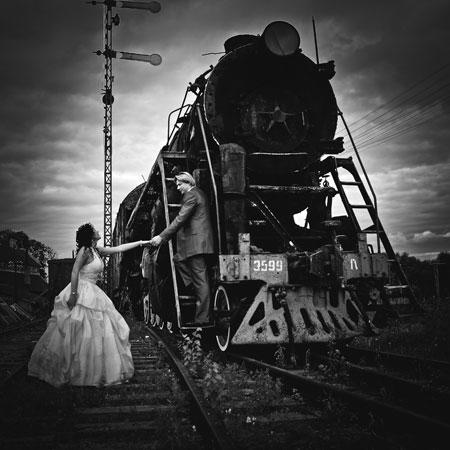 Свадебное фото в ретро стиле