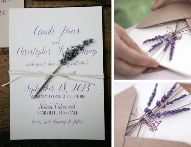 Приглашение на свадьбу с веточкой лаванды