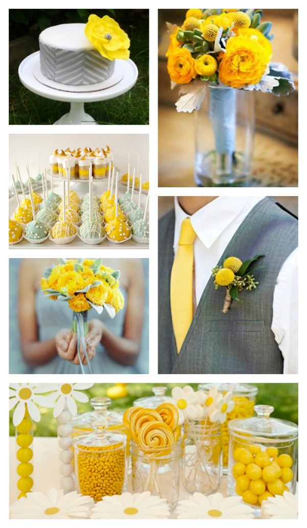 Ярко-желтый, лютиковый оттенок с пастельно-бирюзовым и серым
