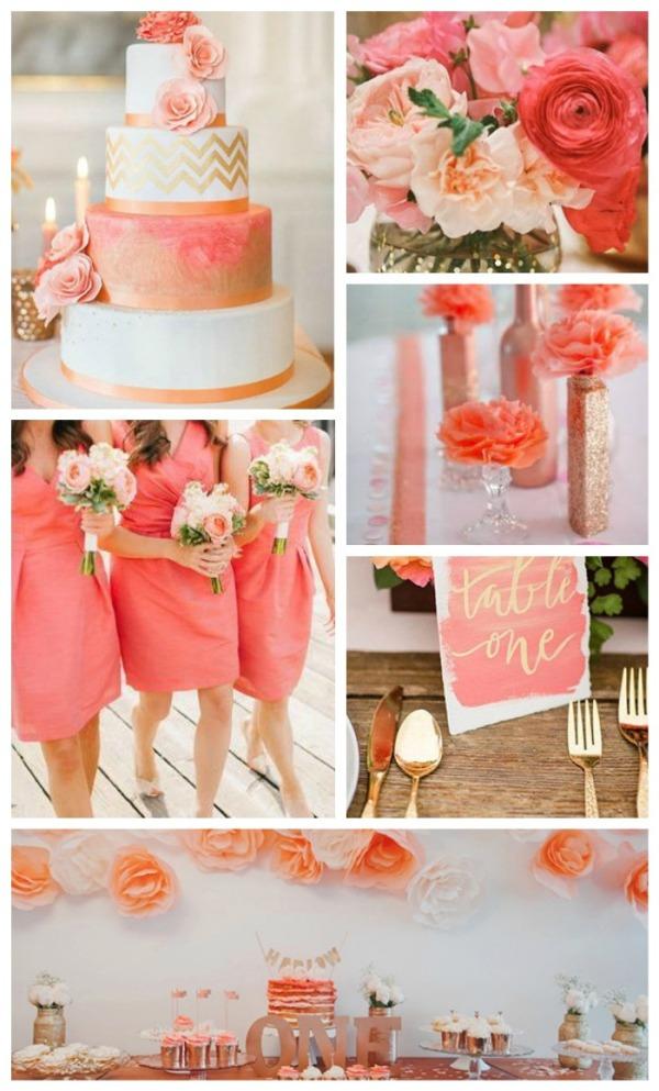 Персиково-розовый в сочетании с золотом