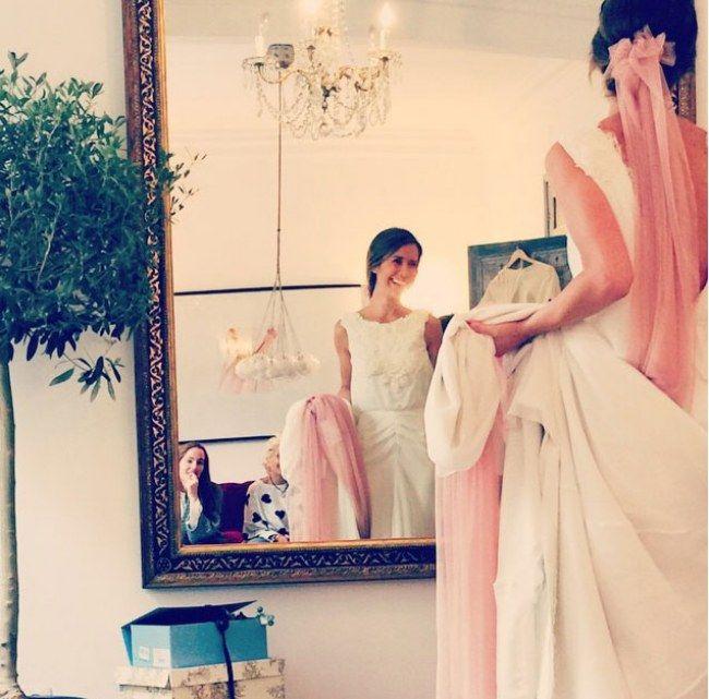 Фата невесты цвета розового кварца