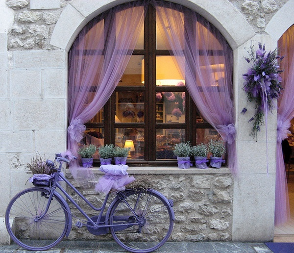 lavender wedding bike tulle