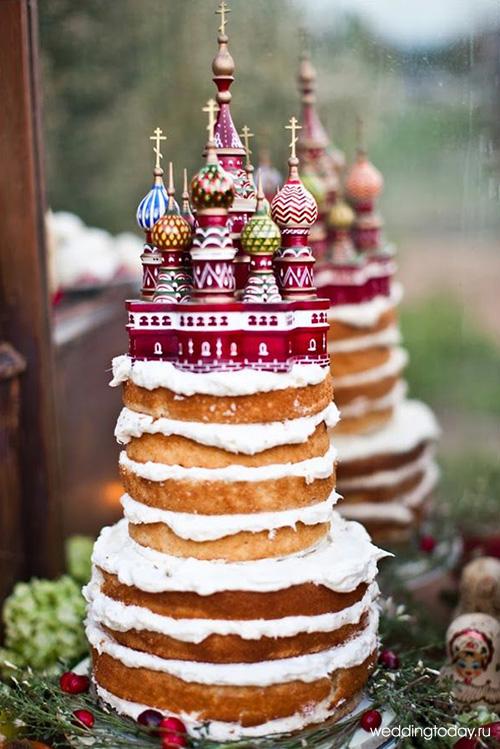 Свадебный голый торт с русскими мотивами