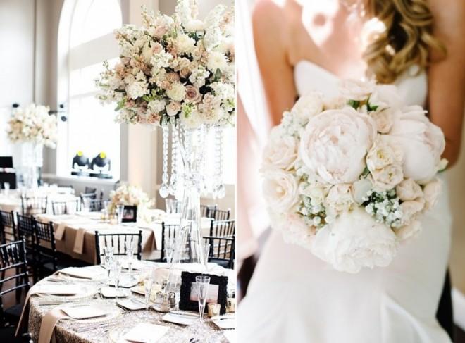 Букет невесты и композиции для украшения столов в одном стиле