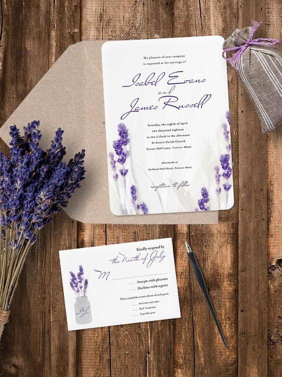 Приглашение на свадьбу в фиолетовый тонах