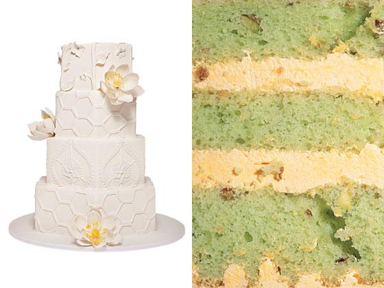 Средний фисташковый торт с кремом шафрана