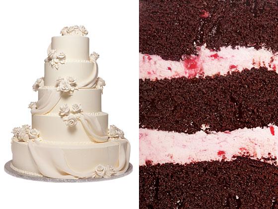 Средний торт с темным шоколадом и малиновым кремом