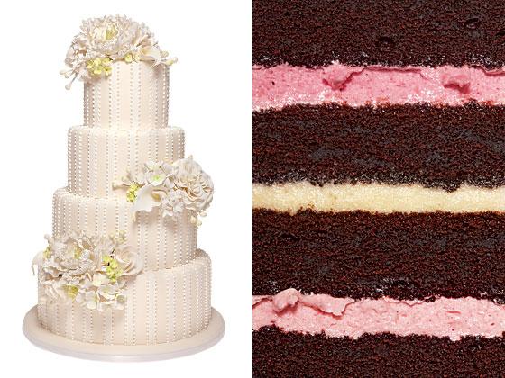 Центр шоколадный торт, клубнично-малиновый крем, белый шоколад