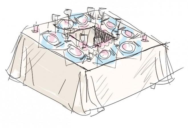 Свадебные столы, составленные квадратом