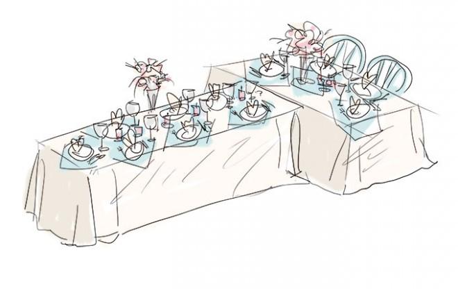 Т-образное размещение столов